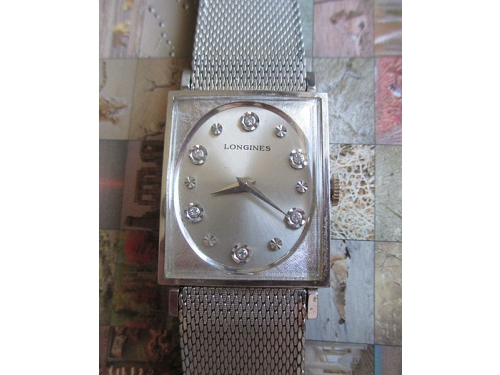 Longines rectangle near mint diamond dial w/original box
